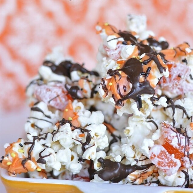 halloween popcorn with drizzle