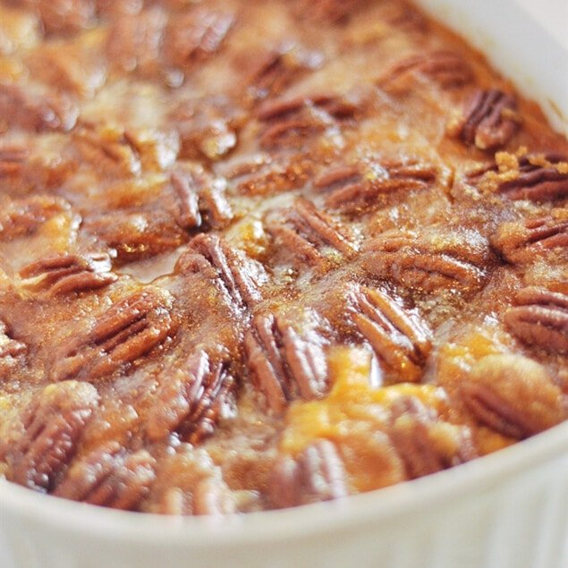 bowl of pecan topped sweet potatoes