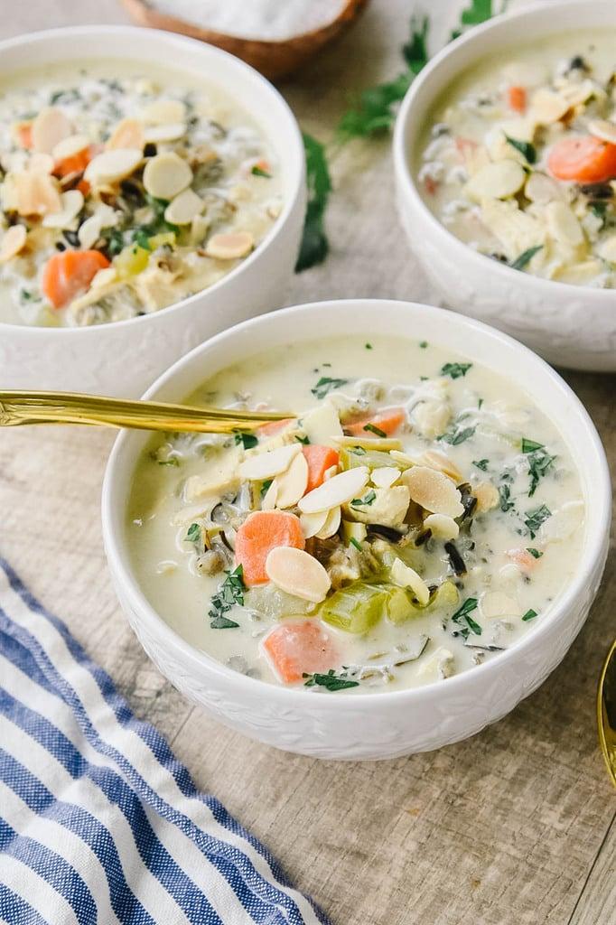 Three bowls of chicken wild rice soup