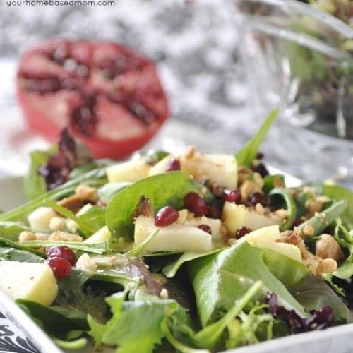Lemon Dijon Salad with Apples, Pomegranate Seeds & Hazelnuts