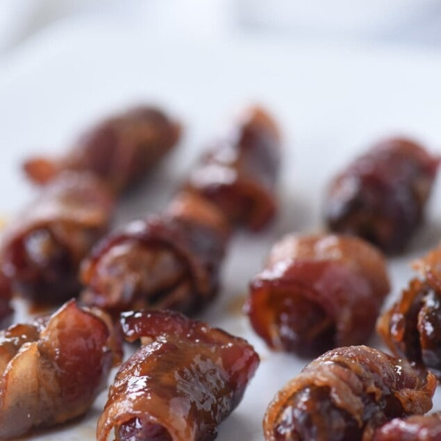 maple syrup covered bacon wrapped dates