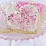 plate of heart shaped sugar cookies