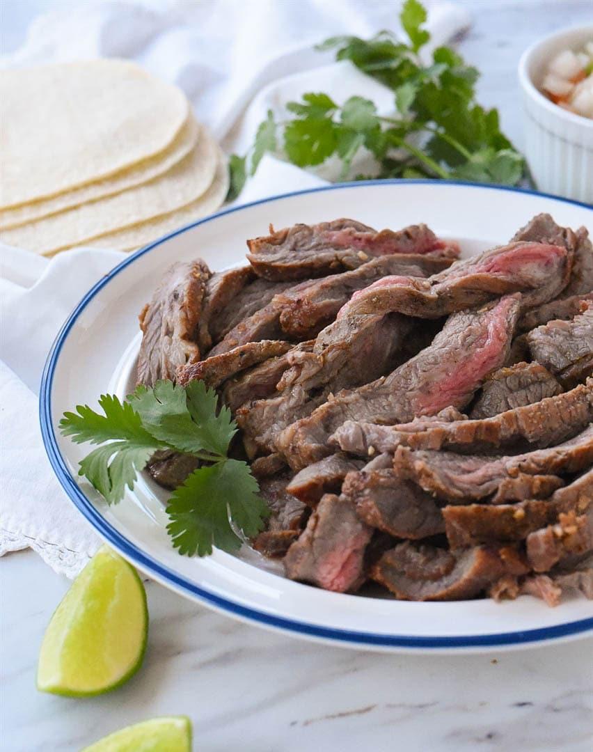 carne asada meat on a plate