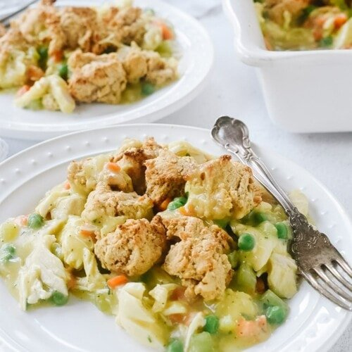 Chicken Pot Pie with Crumble Topping on two plates