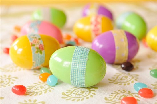 plastic easter eggs with washi tape on them.