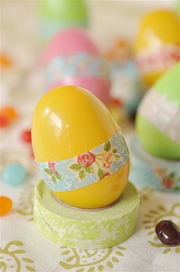 plastic yellow egg with washi tape