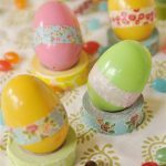Easter eggs with washi tape on them