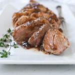 slices of fig glazed pork tenderloin