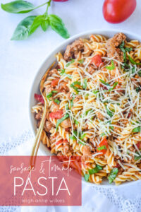 Sausage and Tomato Pasta with Parmesan cheese on top