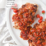 two pieces of buttermilk chicken with tomato relish