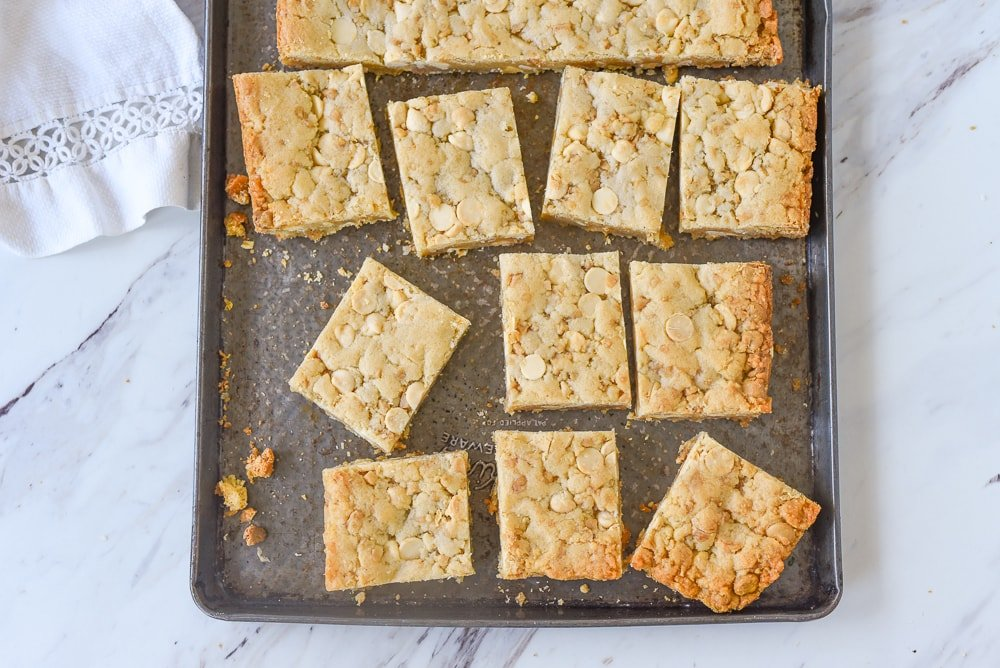 overhead shot of squares of blondies