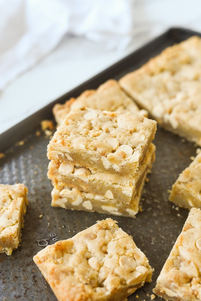 overhead shot of stack of blondies