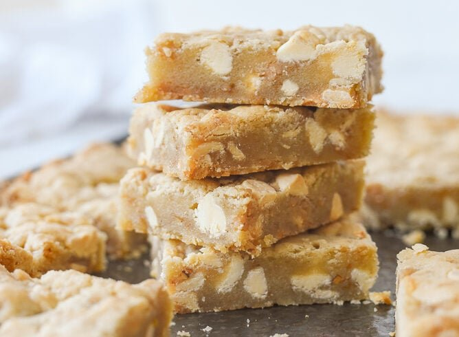 stack of white chocolate toffee blondies