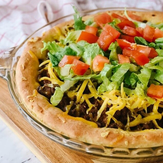 Taco Bake on a cutting board