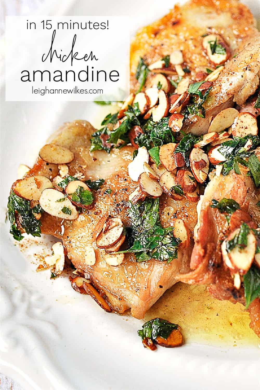 chicken amandine on a plate