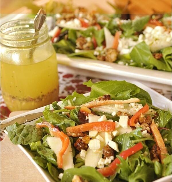 Caramelized Walnut and Pear Salad