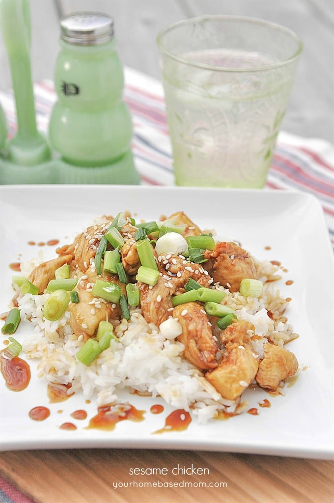 Sesame Chicken over rice with green onions