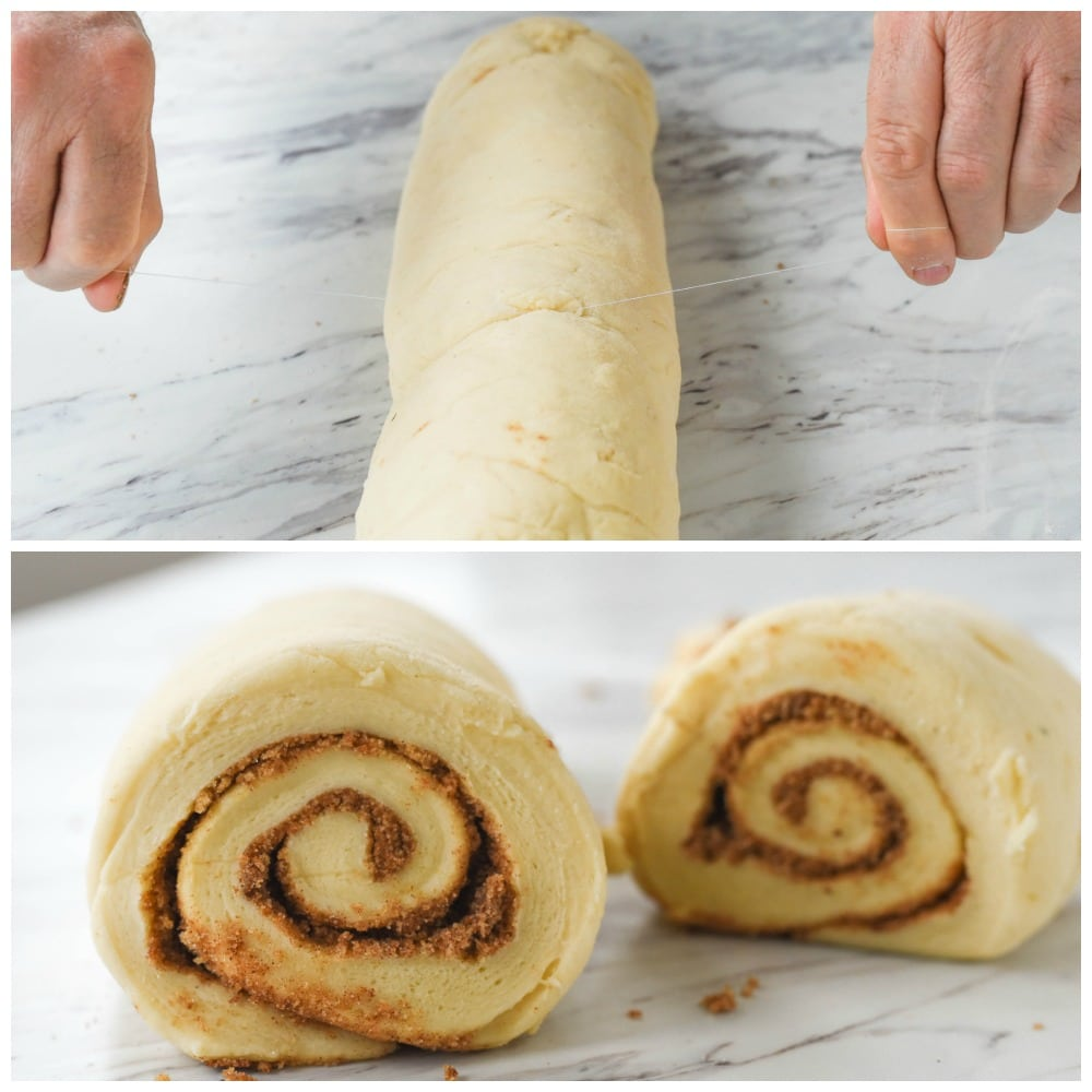 how to cut cinnamon rolls