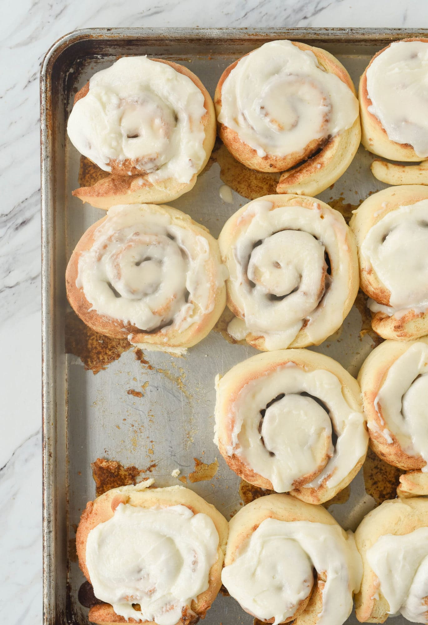 overhead shot of cinnamon rolls