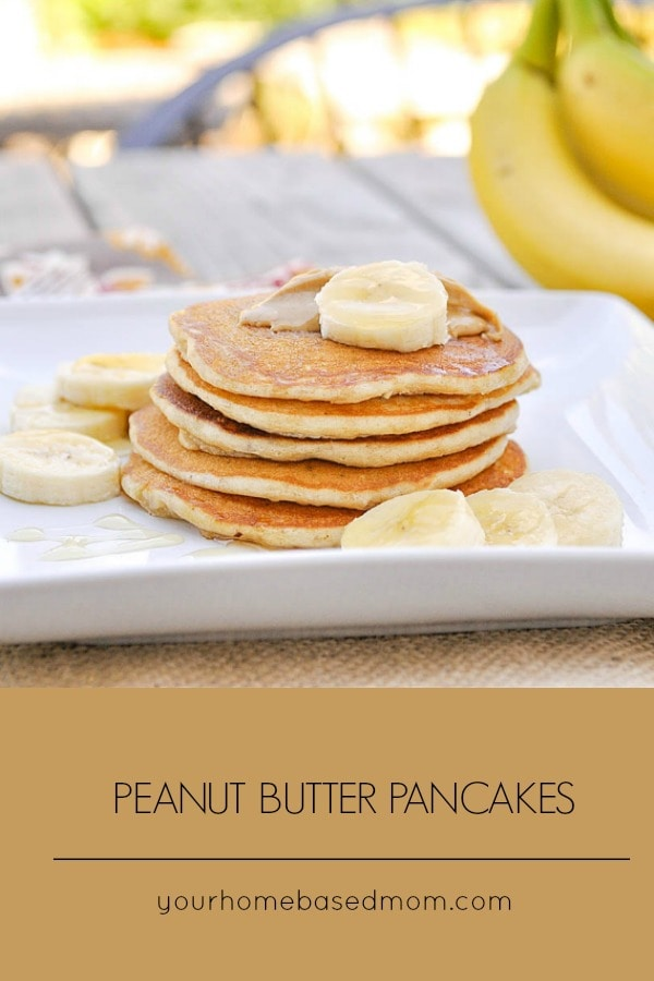 Peanut Butter Pancakes with bananas and honey