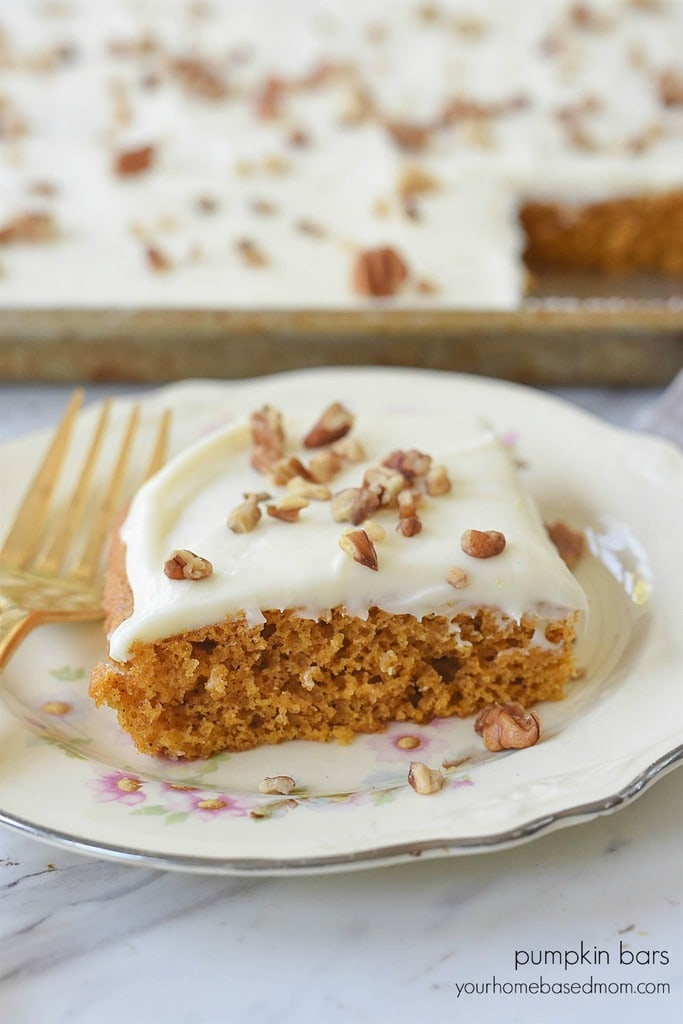 Pumpkin Bars Cream Cheese Frosting and pecans