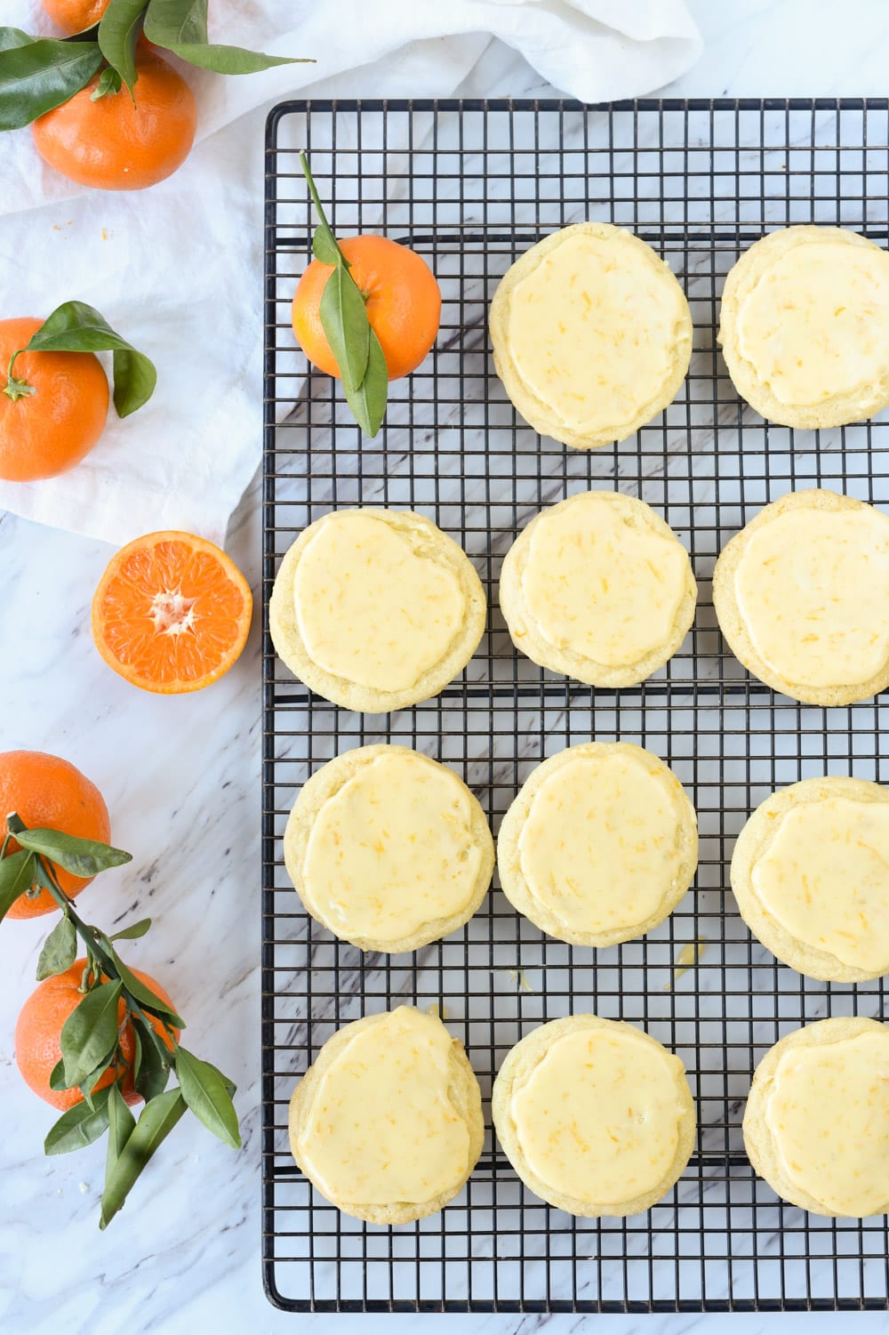 Glazed Orange Cookies on a cooling rack