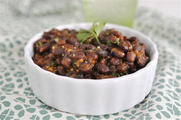 white bowl of Cafe Rio Black Beans