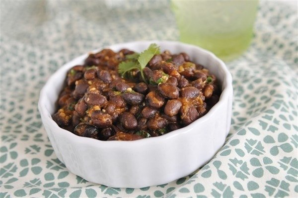 bowl of black beans mexican side dish