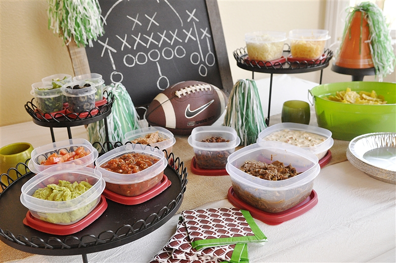 Chili con queso dip and build your own nacho bar for Food bar party ideas