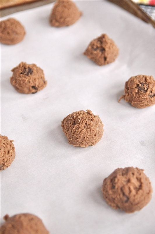 nutella chocolate chips cookies on a sheet