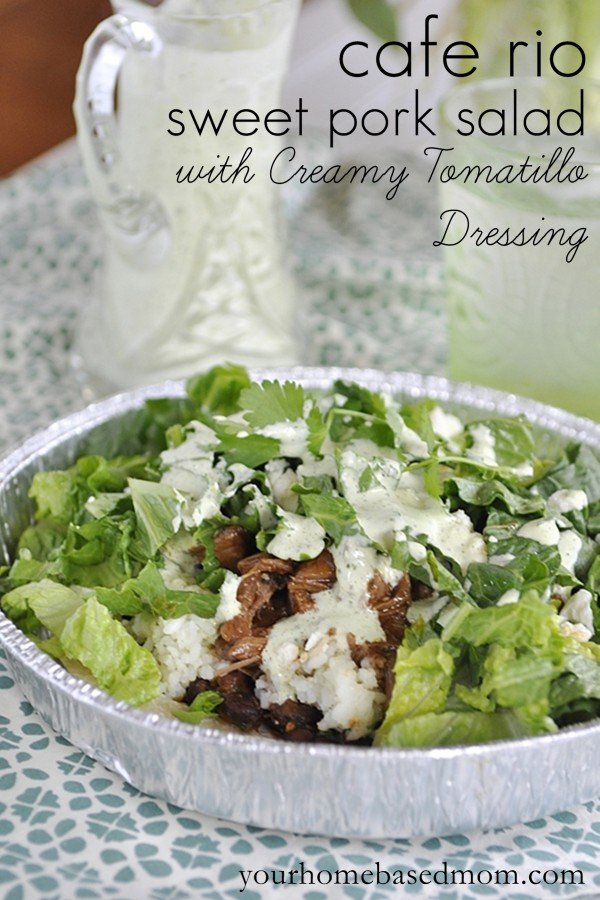 cafe rio pork salad with creamy tomatllo dressing