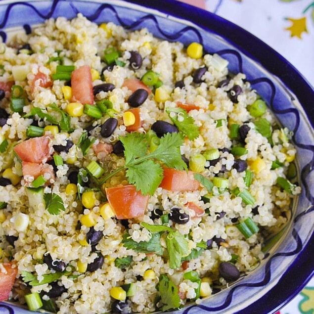 overhead shot of quinoa salad