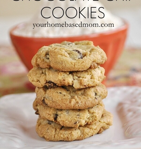 stack of gluten free chocolate chip cookies