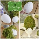 collage of moss covered eggs