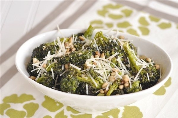 ... Parmesan Cheese Roasted broccoli with parmesan cheese and pine nuts