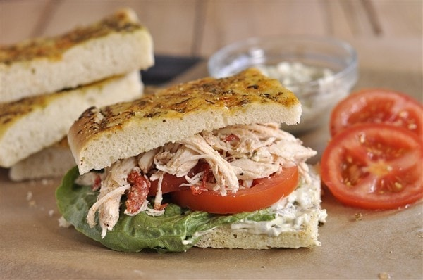 Roasted Red Pepper Chicken and Pesto  Sandwich