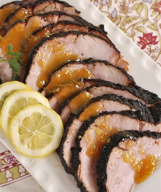 overhead shot of grilled ham
