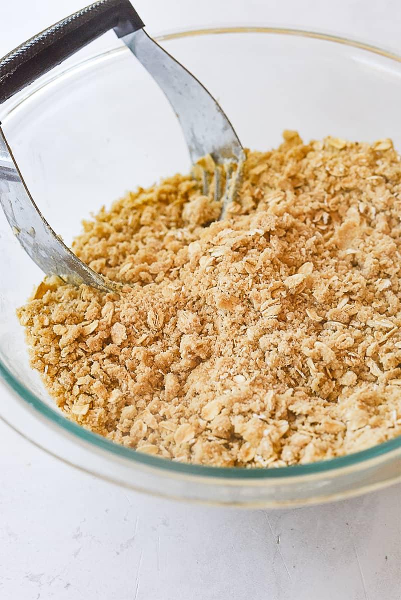 streusel crumb mixture in bowl