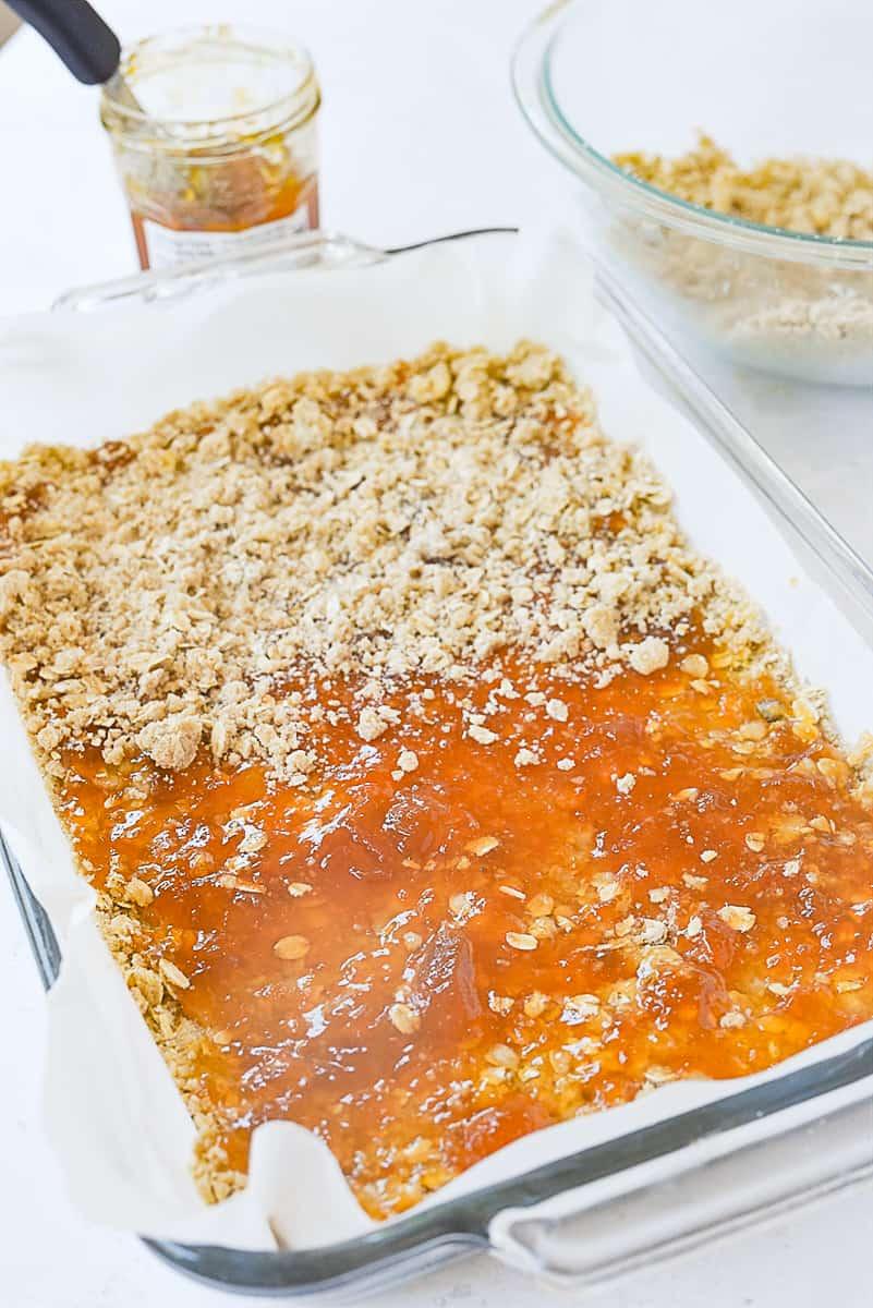 jam on top of oatmeal bars