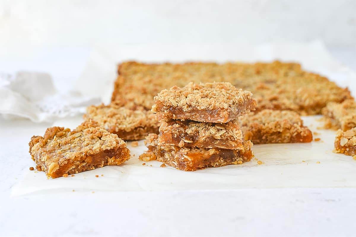 small stack of apricot jam bars
