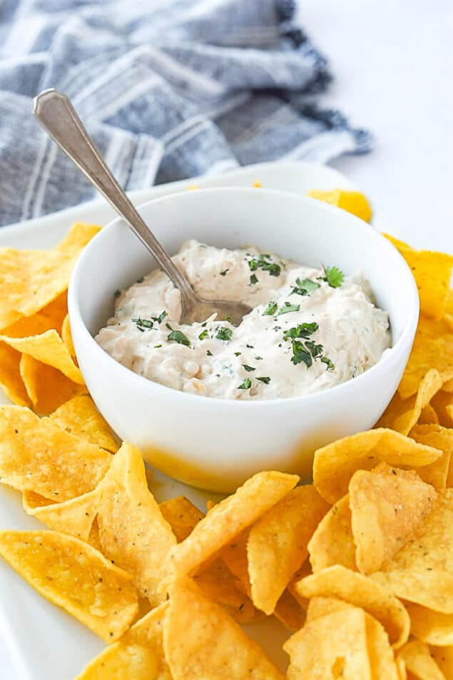 BOWL OF CHIPOTLE DIP WITH SPOON IN IT