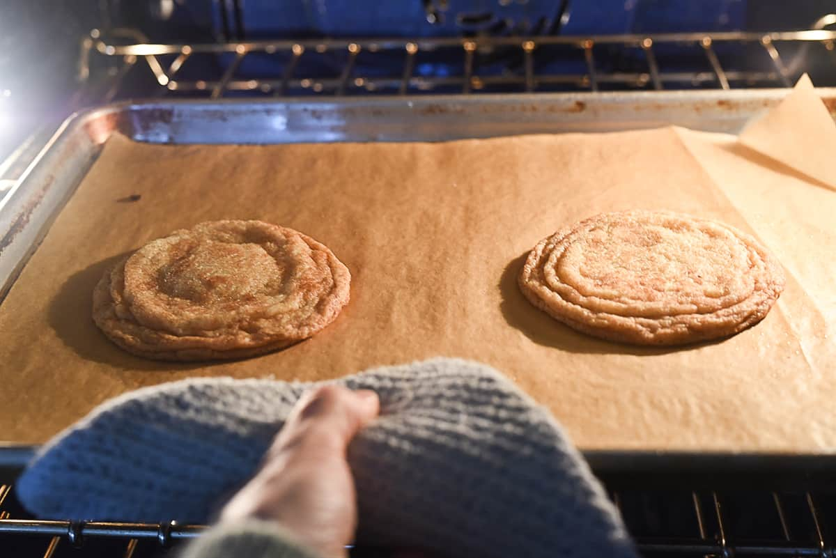banging cookie pan on oven rack