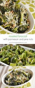 roasted broccoli with parmesan cheese and pine nuts