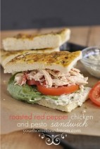 Crock Pot Roasted Red Pepper Chicken and Pesto Sandwich