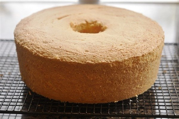 lemon sponge cake on cooling rack