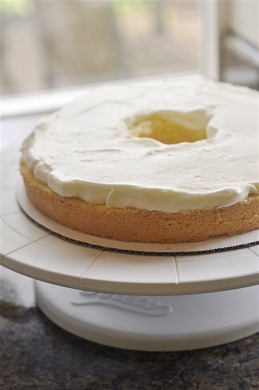 lemon sponge cake layered with cream