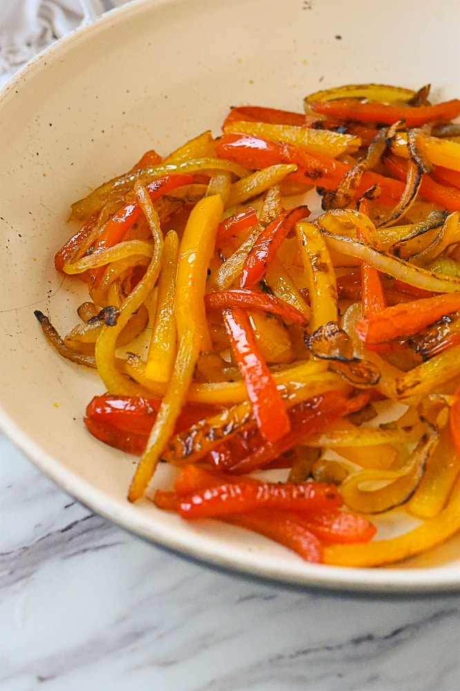 cooked peppers in pan