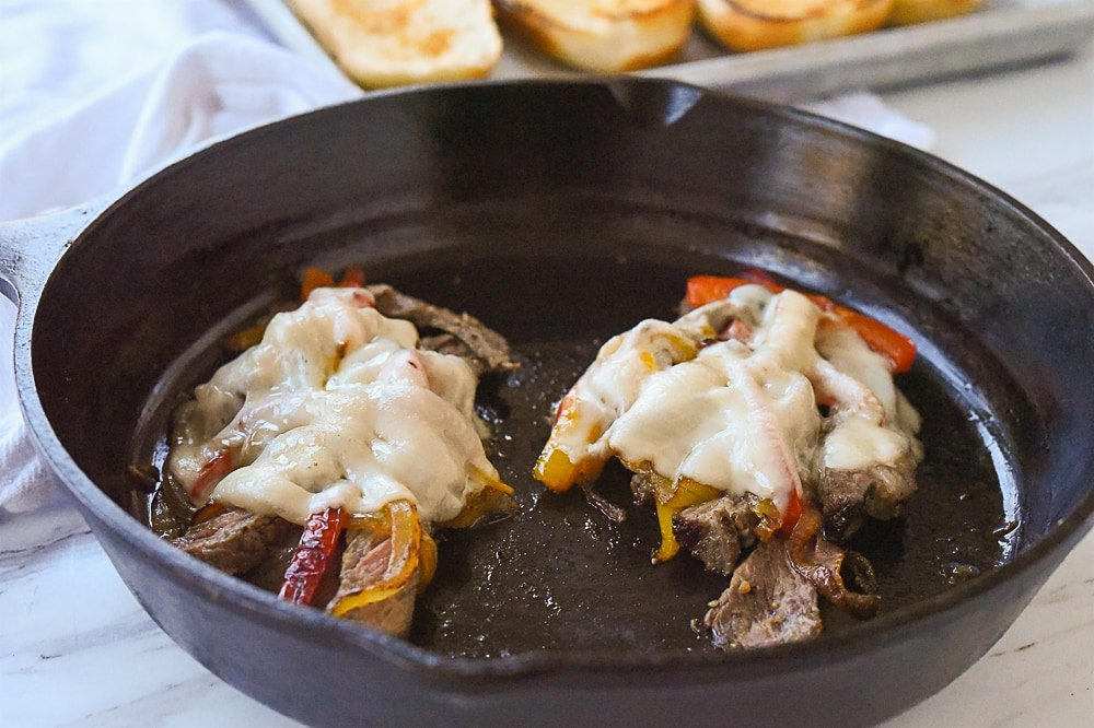 cheese melting on steak