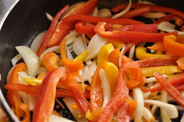 peppers and onions cooking