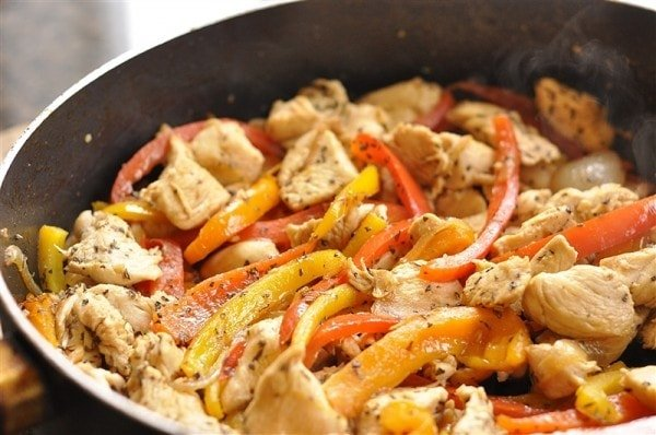 Add the chicken into the peppers along with the remaining balsamic ...